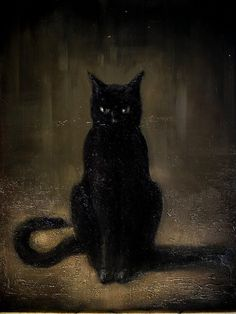 Antique looking painting of a black cat, AKA the stereotypical witch's familiar, and for good reason. ~*~ by Kain White