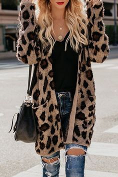 Collarless Flap Pocket Leopard Printed Cardigans – Naychic Outfits 2019 Outfits casual Outfits for moms Outfits for school Outfits for teen girls Outfits for work Outfits with hats Outfits women Cute Fall Outfits, Fall Winter Outfits, Stylish Outfits, Cool Outfits, Winter Clothes, Womens Fashion Outfits, Women Fall Outfits, Winter Coats, Holiday Outfits
