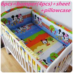 Promotion! 6PCS Mickey Mouse crib baby bedding set Bed Linen for baby bed linen (bumpers+sheet+pillow cover)