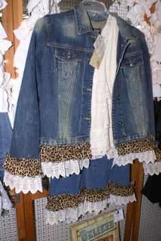 Denim Jacket with leopard print and vintage by MattiePearlsAttic