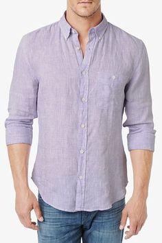 Linen Oxford Shirt In Lavender