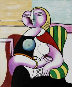 Woman Reading 1932 Oil Painting Reproduction by Pablo Picasso Kunst Picasso, Art Picasso, Picasso Paintings, Cubist Movement, Popular Paintings, Graffiti, Oil Painting Reproductions, Oil Painting Abstract, Abstract Art
