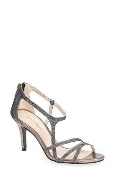 Pelle Moda Ruby Asymmetric Strap Back Zip Sandal textile pewter metallic, silver metallic, black silk 3h sz7.5 149.95 2/16
