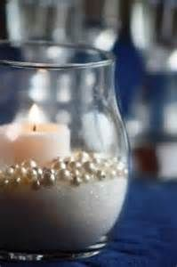 This is an elegant, neutral centerpiece solution. Put fake pearls ...