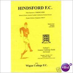 Hindsford v Wigan College 13/12/1997 Non League Football Programme Sale