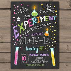 Science birthday invitations Science birthday door Anietillustration