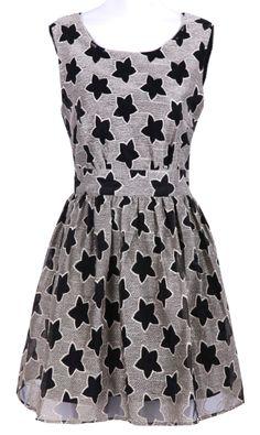 #SheInside Black Sleeveless Stars Print Chiffon Dress - Sheinside.com