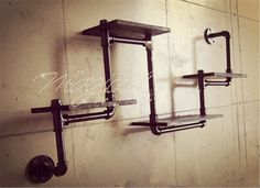 Vintage personality bookshelf water pipe metal shelves wall shelf iron bookcase display rack-inCrafts from Home & Garden on Aliexpress.com