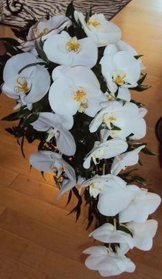 White phaleanopsis cascading bridal bouquet