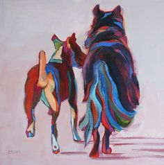 Daily Painting, Knocking About, contemporary dog painting, painting by artist Carolee Clark