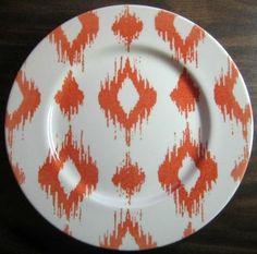 Decorative Dishes - Retro 1960s Ikat Print Mod Orange Cream Faux Woven Diamond Plate Large, $29.99 (http://www.decorativedishes.net/retro-1960s-mod-orange-cream-faux-woven-diamond-plate-large/)