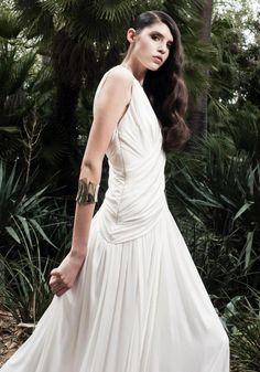 Jaimie Sortino silk jersey draped gown