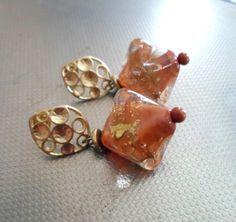 Lampwork Earring Handmade Jewelry Golden Rusty by CandanImrak