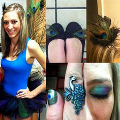 was told to upload my costume soooo I am. DIY costume:  peacock feathers for the tail, made the tutu by sewing in colored tulle (navy, blue, green, purple), added peacock feathers to shoes, added a peacock feather to black feathered hair clip, peacock ring (claires), peacock eyeshadow (green, blue, and purple...make it bright!).  Also did the peacock nails myself :)