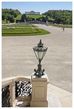 Schloss Schönbrunn - lamp and the gardens ,Vienna