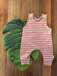 Orange Stripe Romper Easy Wear, Bodice, Rompers, Orange, Knitting, Cotton, Kids, How To Wear, Clothes