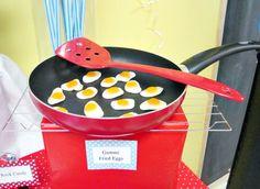 gummy eggs in a frying pan