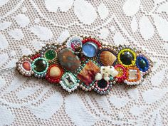 """Bracelet """"chaos""""-Bead embroidery mother of pearl and seashells bracelet"""
