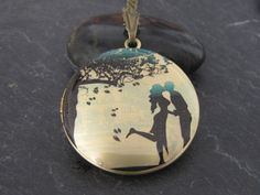 Lovers under the tree Brass photo Locket by amajewelry on Etsy