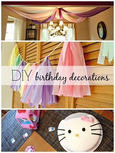 Birthday Party DIY decorations: Hello Kitty-themed, plastic tablecloth streamers, & vintage-looking tassel garland