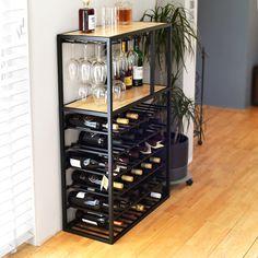 Living Room Sofa Design, Home Room Design, Living Room Designs, Modern Wine Rack, Wine Rack Storage, Kitchen Dining Living, Bar Shelves, Small Bars, Industrial House