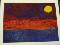 Colore: Vernici /Acrilico/Terre  colorate  Periodo: 2013  Supporto:Tela  Cornice: In legno verniciato bianco     Titolo: Un giorno vulcanico 2  Misure: 80x60