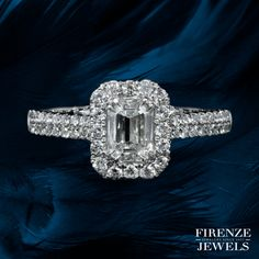This amazing white gold ring, features 1 emerald cut white diamond, weighing carat and 94 round brilliant cut white diamonds of H color, clarity, weighing carat total. Wedding Rings For Women, Wedding Bands, White Diamonds, Emerald Cut, White Gold Rings, Diamond Jewelry, Great Gifts, Engagement Rings, Jewels