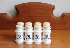 8 Milk Glass Spice Bottles with Rooster  White by DukeCreekStudios