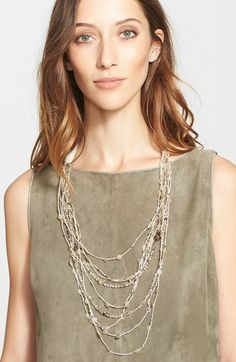 Fabiana Filippi Glass Bead & Paillette Necklace available at #Nordstrom