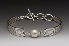 Silver Spoon Jewelry: Vintage Spoon and Fork Jewelry: Erte Spoon Handle Bracelet with Pearl