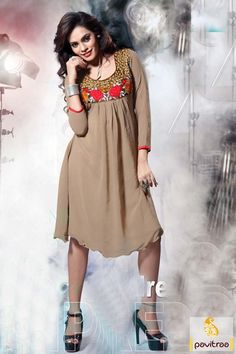 Embroidery tunic in chikoo georgette material. This fashionable western look tunic comes in short length will be perfect attire for party and casual function. #kurti, #embroiderykurtis, #casualkurtis, #Indiankurtis, #kurtisonlineshopping,   #fancykurtis, #longkurtis, #tunics, #tunic, #longkurta, #tunictop, #partywearkurti,   #womentunic, #ladieskurti, #valentinedresses More:   Any Query: Call Us:+91-7698234040