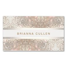 Stylish Striped Faux Silver Sequin Elegant Modern Business Card