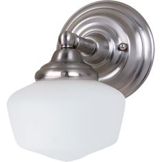 Academy 1-light Brushed Nickel Wall Sconce with Satin White Schoolhouse Glass | Overstock.com Shopping - Top Rated Sea Gull Lighting Sconces & Vanities