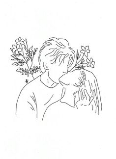 poeticamente flor — couples in love. // for line drawings requests. Outline Art, Outline Drawings, Cool Art Drawings, Art Drawings Sketches, Couple Tattoos Love, Minimal Art, Minimalist Drawing, Pen Art, Doodle Art