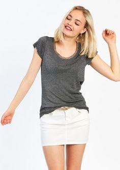 T-shirt met ronde hals - BLACK - 02004894_1119 L&L