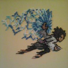 Sasuke from Naruto. Made with perler beads Sasuke Pixel Art Templates, Perler Bead Templates, Diy Perler Beads, Pixel Beads, Fuse Beads, Hama Beads Patterns, Beading Patterns, Sasuke, Naruto Shippuden