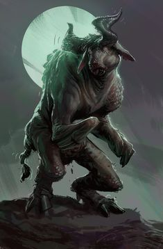 Mooooooooooo...nnnnnn by IzzyMedrano dead undead minotaur bull cow demon zombie ghoul monster beast creature animal | Create your own roleplaying game material w/ RPG Bard: www.rpgbard.com | Writing inspiration for Dungeons and Dragons DND D&D Pathfinder PFRPG Warhammer 40k Star Wars Shadowrun Call of Cthulhu Lord of the Rings LoTR + d20 fantasy science fiction scifi horror design | Not Trusty Sword art: click artwork for source