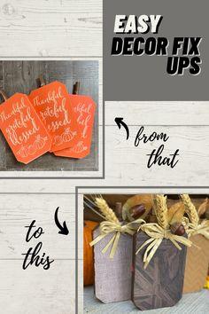Upgrade inexpensive blocks into Fall Farmhouse pumpkin decor using neutral colored craft paper. #falldecor #diydecor #farmhousefall #home #crafts #diydollartree #pumpkins