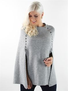 Zanca Sonne - Grey long poncho with buttons