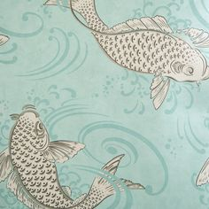 Osborne & Little Album 6 Collection - Derwent Wallpaper - W579606 ($92) ❤ liked on Polyvore featuring home, home decor, wallpaper, koi fish wallpaper, aqua wallpaper, koi wallpaper, blue green wallpaper and osborne little wallpaper