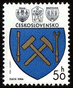 Stamp: Zlatá Idka (Czechoslovakia) (Coats of arms of the Czechoslovak cities) Mi:CS 2426 Bratislava, Postage Stamps, Cities, Coats, My Favorite Things, Fictional Characters, Seals, Prague, Wraps