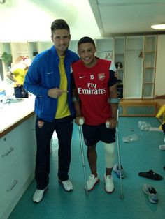 Arsenal players, Olivier Giroud and Alex Oxlade-Chamberlain...get well soon Ox!