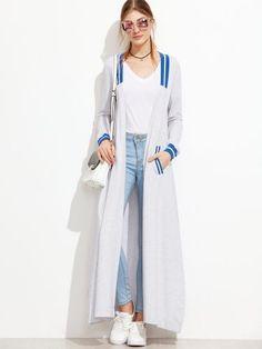 Grey Striped Trim Side Slit Longline Coat