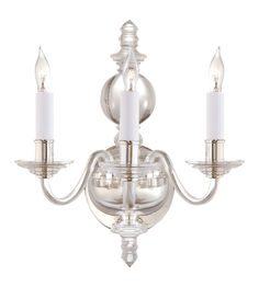 Visual Comfort CHD1154CG-PN E. F. Chapman Wall Lights George II Triple Sconce in Crystal with Polished Nickel | ShopVisualComfortLights.com