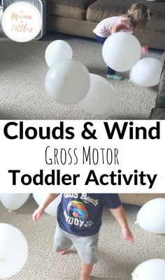 Clouds and Wind Balloon Toddler Activity Weather activity for toddlers. Indoor gross motor fun that is simple cheap and can easily be put together in a few minutes. The post Clouds and Wind Balloon Toddler Activity appeared first on Toddlers Ideas. Weather Activities Preschool, Spring Activities, Infant Activities, Toddler Gross Motor Activities, Physical Activities For Toddlers, Therapy Activities, Toddler Learning, Learning Activities, Rainbow Learning
