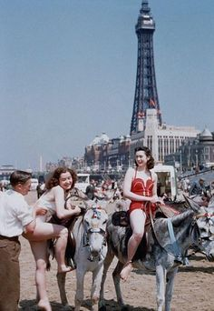 circa Holiday-makers riding donkeys on the beach at Blackpool. Blackpool Tower is in the background. 1954 (Photo by John Chillingworth/Picture Post/Getty Images) Blackpool Beach, Blackpool Pleasure Beach, Blackpool Promenade, British Beaches, British Seaside, Blackpool England, British Holidays, Northern England, Seaside Towns