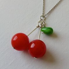 Such a cute beaded cherry necklace.