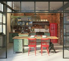 Marine Loft is a s. residential loft space located at the corner of Main and Marine Street in Santa Monica. Industrial Kitchen Design, Industrial House, Industrial Interiors, Vintage Industrial, Modern Industrial, Industrial Furniture, Design Kitchen, Industrial Windows, Industrial Restaurant