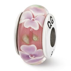 Sterling Reflections Lt Pink with Purple Flower Hand Blown Glass Bead, Women's