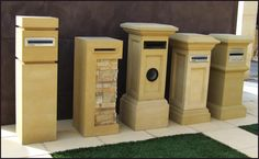 """Sandstone Letterboxes. From left to right The """"Mayfair"""", The """"Medusa"""" with slate insert, The """"Provincial Tall"""" with paper holder, The """"Provincial Small"""" and The """"Madison"""""""